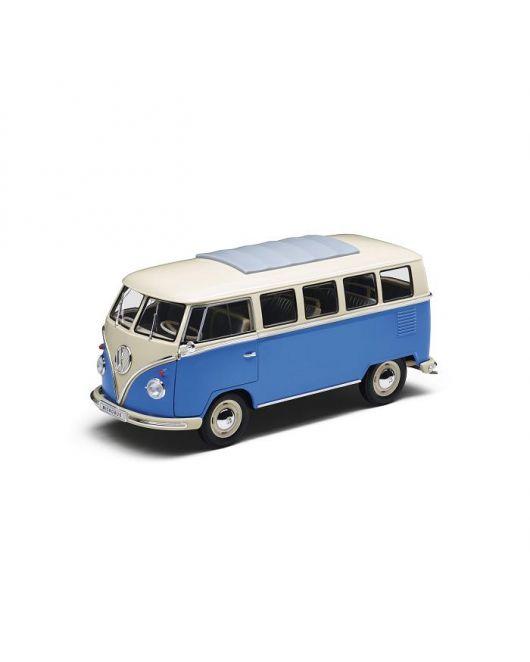 Miniature VOLKSWAGEN Combi T1 Samba Van 1962 bleu blanc 1/18ème
